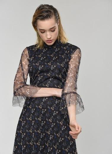 People By Fabrika Volanlı Tül Elbise Elbise Kahve